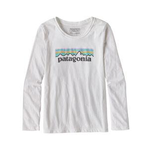 Girls' Long-Sleeved Pastel P-6 Logo Organic Cotton/Poly T-Shirt, White (WHI)