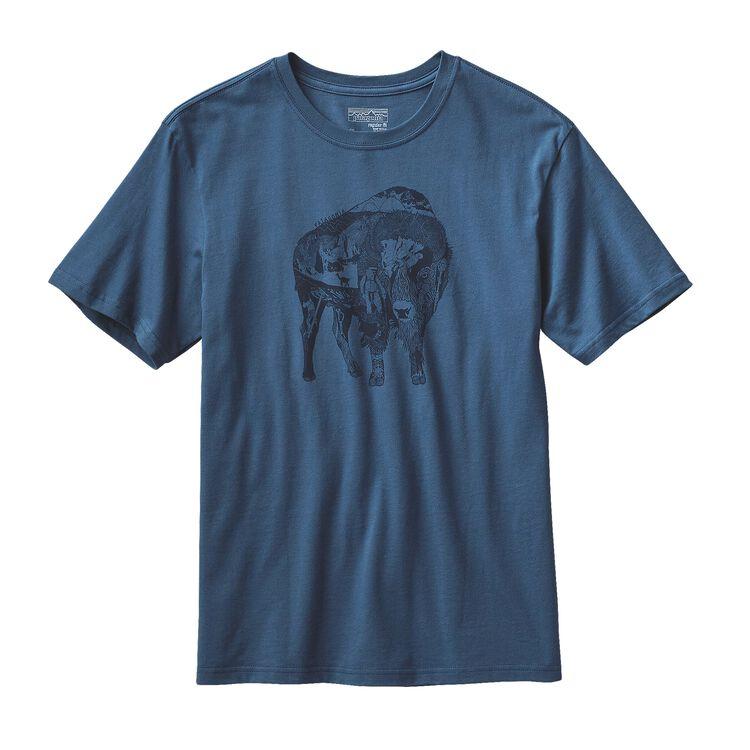 M'S ILLUSTRATED BUFFALO COTTON T-SHIRT, Glass Blue (GLSB)