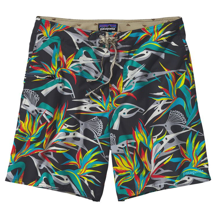 M'S PRINTED STRETCH PLANING BOARD SHORTS, Piton Paradise: Black (PTBL)
