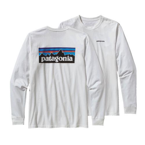 メンズ・ロングスリーブ・P-6ロゴ・コットン・Tシャツ, White (WHI)