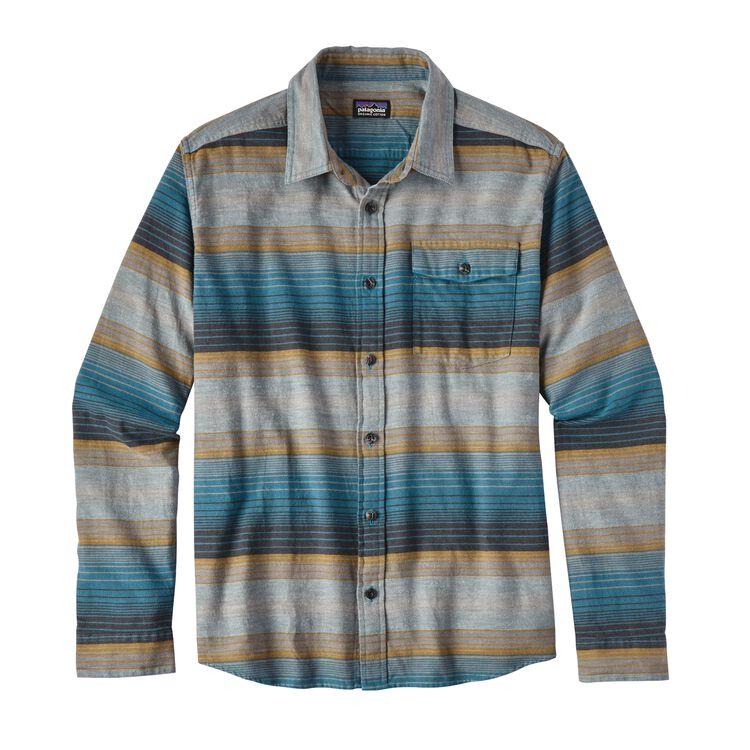 メンズ・ロングスリーブ・ライトウェイト・フィヨルド・フランネル・シャツ, Blanket Stripe: Filter Blue (BFLT)