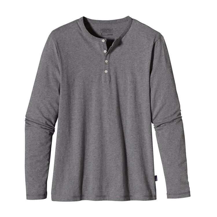 M'S L/S DAILY HENLEY, Feather Grey (FEA-950)
