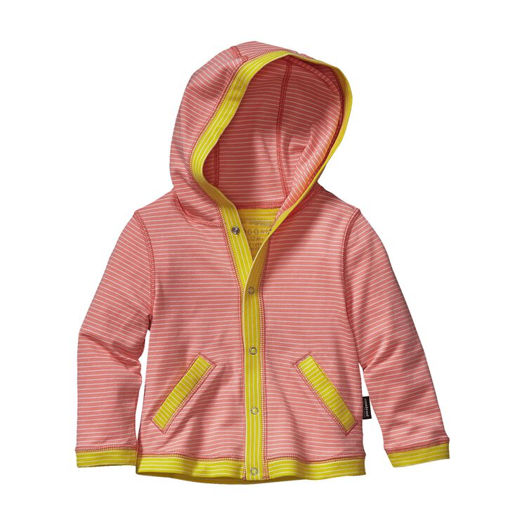 BABY COZY COTTON HOODY, Itsy Bitsy Stripe: Pickled Pink (ISPP)