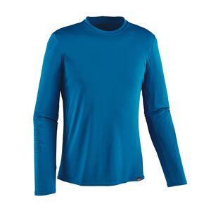メンズ・キャプリーン・デイリー・ロングスリーブ・グラフィック・Tシャツ, Outline Text Logo: Bandana Blue (OXBB)