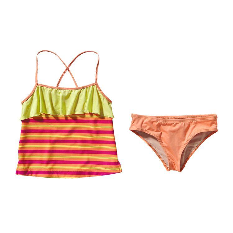 GIRLS' WAVY DAY TANKINI, Fitzby Stripe: Peach Sherbet (FSPS)