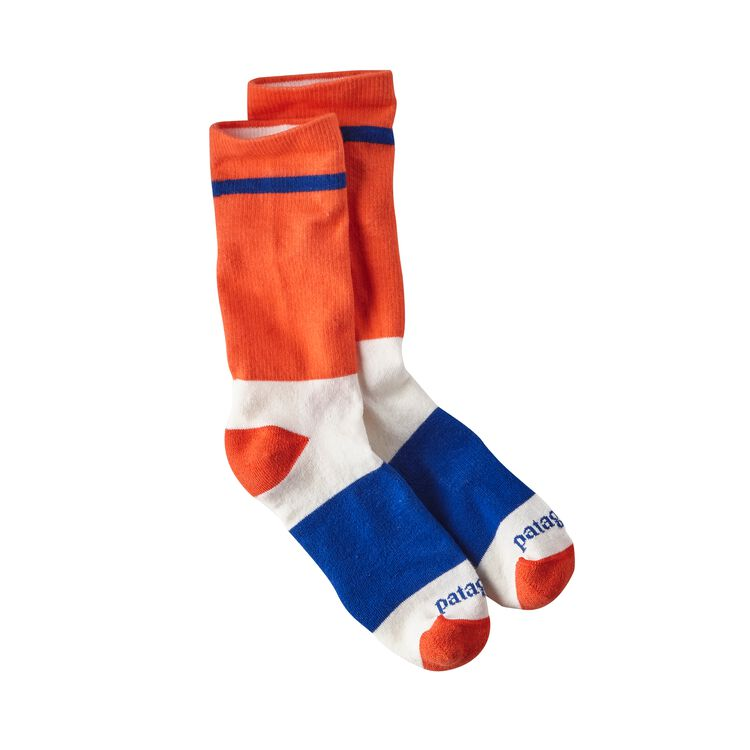 M'S LW CREW SOCKS, Block Stripe: Campfire Orange (BLCO)