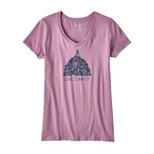 ウィメンズ・リブ・シンプリー・サミット・ストーンズ・オーガニックコットン・Vネック・Tシャツ, Light Violet (LVT)