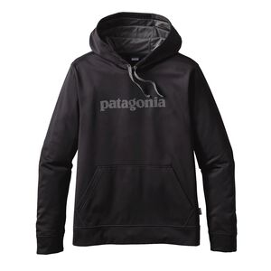 M'S TEXT LOGO POLYCYCLE HOODY, Black w/Forge Grey (BFO)