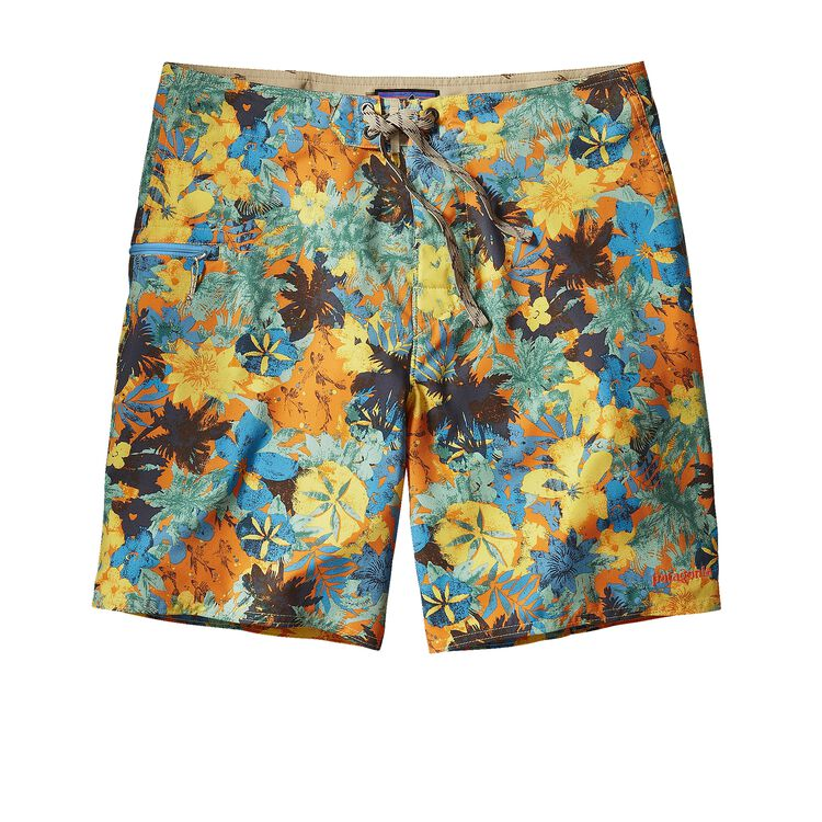 M'S PRINTED STRETCH PLANING BOARD SHORTS, Neo Tropics Lite: Cusco Orange (NTCO)
