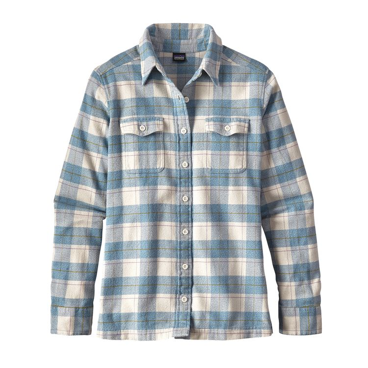 W'S L/S FJORD FLANNEL SHIRT, Boxwood Plaid: Birch White (BXBW)