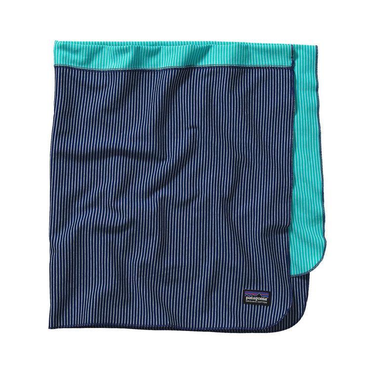 BABY COZY COTTON BLANKET, Itsy Bitsy Stripe: Channel Blue w/ Howling Turquoise (ICIH)