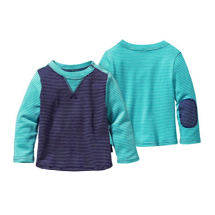 BABY COZY COTTON CREW, Itsy Bitsy Stripe: Channel Blue w/ Howling Turquoise (ICIH)