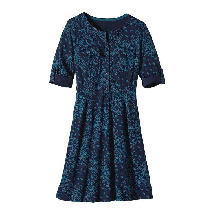 W'S KAMALA HENLEY DRESS, Tracks and Treks: Underwater Blue (TKUW)