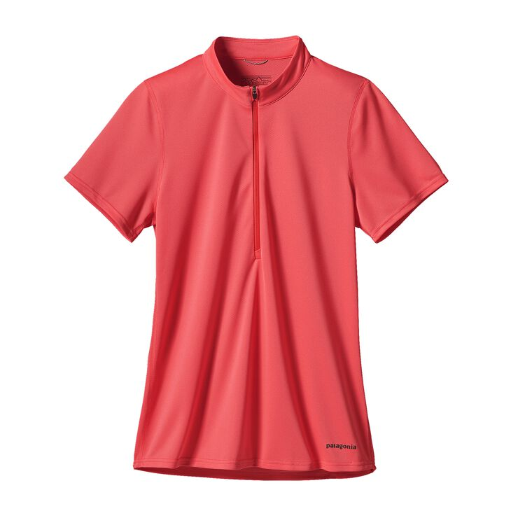 W'S S/S FORE RUNNER ZIP NECK, Shock Pink (SHKP)