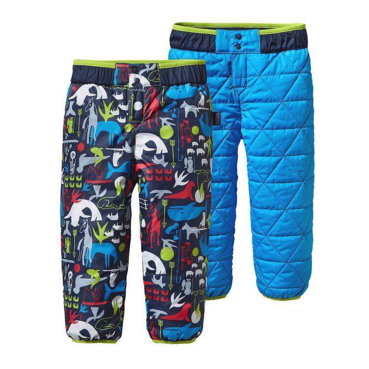 BABY REVERSIBLE PUFF-BALL PANTS, Little Arctic Kin: Navy Blue (LANB)