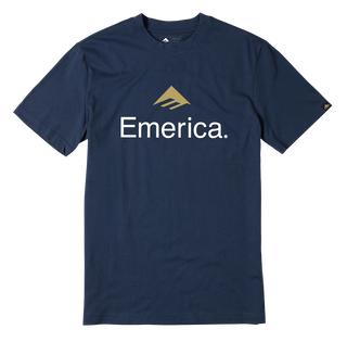 EMERICA SKATEBOARD LOGO - NAVY/GOLD - hi-res