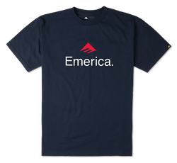 EMERICA SKATEBOARD LOGO - NAVY/RED - hi-res
