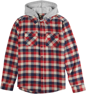 CASHUS HOODED LS FLANNEL - RED/NAVY - hi-res