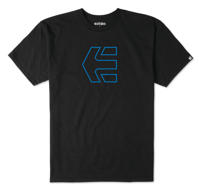 ICON OUTLINE S/S TEE - BLACK/BLUE - hi-res | Etnies