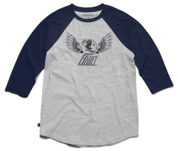 Winged Heritage Raglan - NAVY/HEATHER - hi-res
