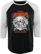 SHRED TILL DEATH HOOD RATS BASEBALL TEE - BLACK/WHITE - hi-res