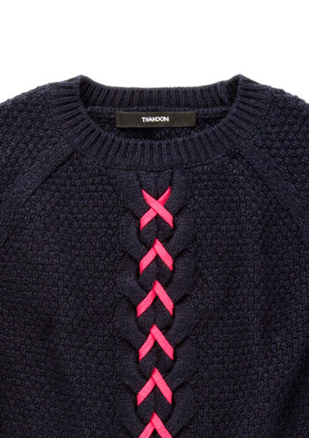 Cropped Lace-Up Cable Knit Sweater - Thakoon