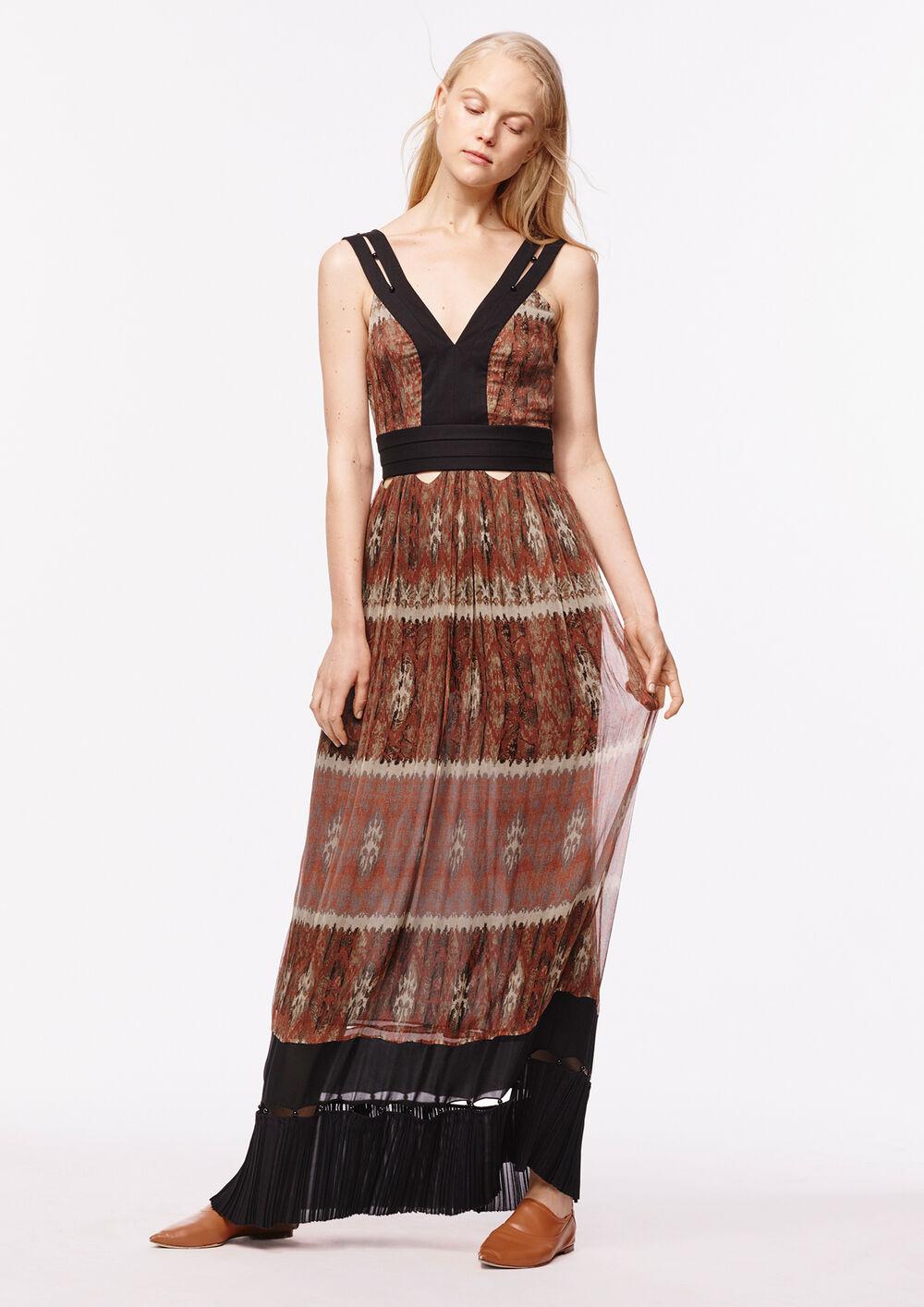 Bohemian Print Cutout Chiffon Long Dress