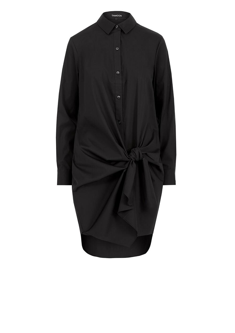 Tie Front Cotton Poplin Shirt Dress
