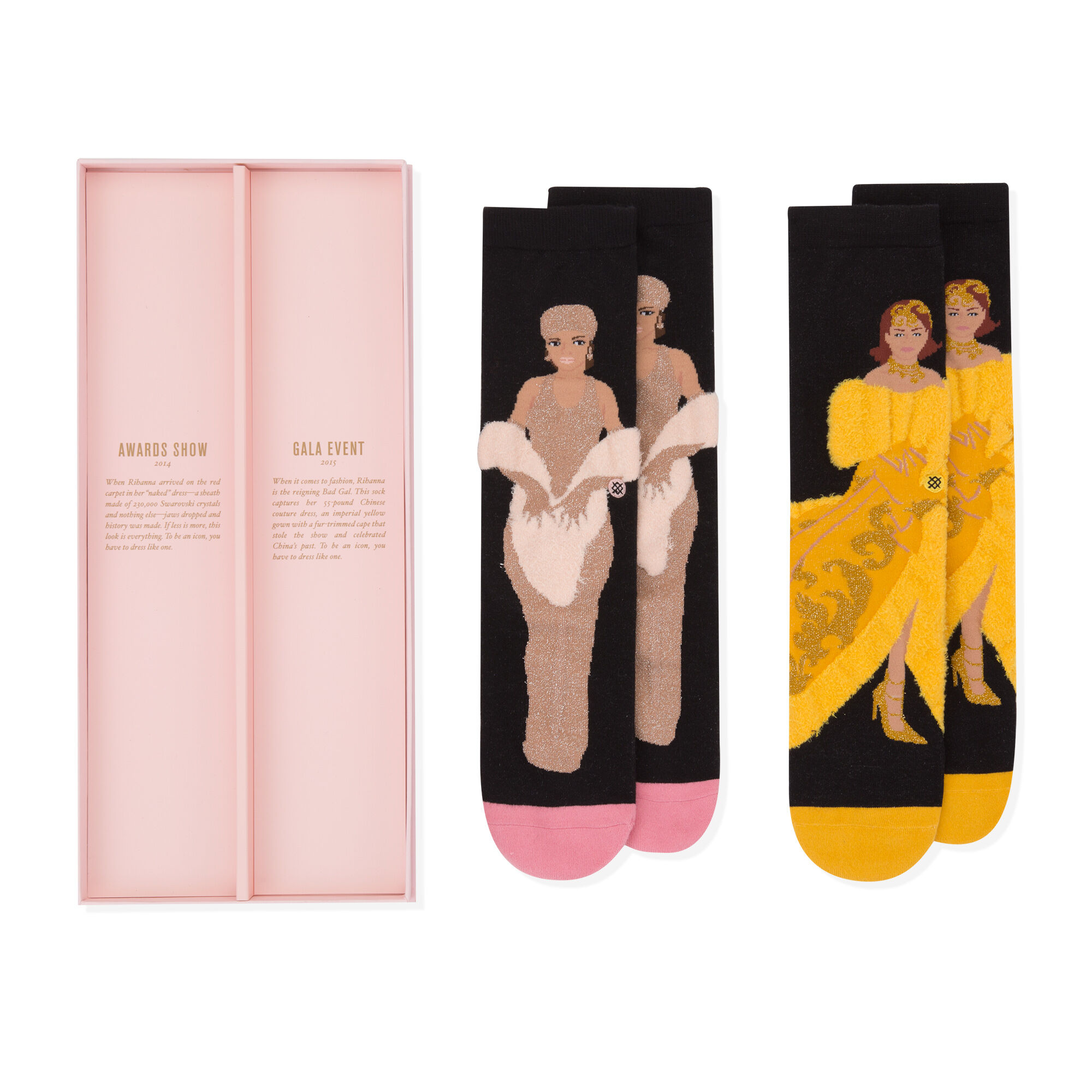 Thank you, Rihanna for these socks patterned in your likeness