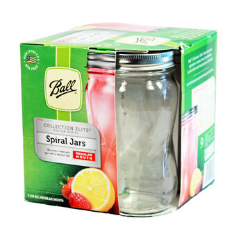 Ball® Collection Elite® Regular Mouth Pint 16 oz.Spiral Mason Jars with lids and bands, 4 count