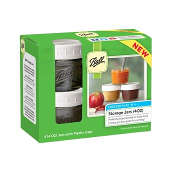 Ball® Regular Mouth 4 oz. Baby Food Jars with Storage Caps, 4 count