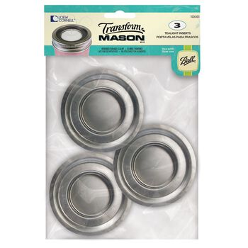 Transform Mason® Regular Mouth Tea Light Lid Inserts for Mason Jars, 3 count