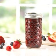 Ball® Quilted Crystal Regular Mouth 12 oz. Glass Mason Jars with lids and bands, 12 count