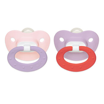 NUK® Juicy Orthodontic Pacifier, Girl  0-6 Months, 2 Pack, , hi-res