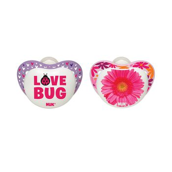 NUK® Orthodontic Pacifier, Small Talk, Girl  0-6 Months, 2 Pack, , hi-res