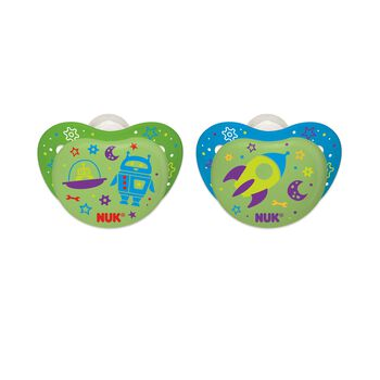NUK® Orthodontic Pacifier, Night Glow, Boy 6-18 Months, 2 Pack, , hi-res