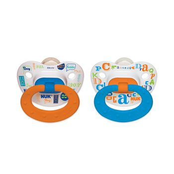 NUK® Orthodontic Pacifier, Baby Talk Boy, 0-6 Months, 2 Pack, , hi-res