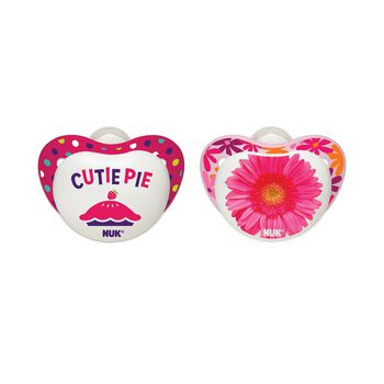 NUK® Orthodontic Pacifier, Small Talk, Girl 6-18 Months, 2 Pack, , hi-res