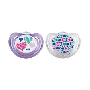 NUK® Girl Hearts Airflow Orthodontic Pacifier 6-18 Months, 2 Pack, , hi-res