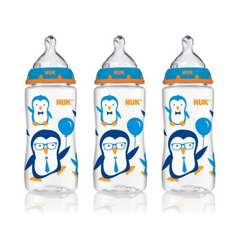 NUK® Bottle with Perfect Fit™ Nipple, 10-Ounce Medium Flow, Penguins, 3 Pack, , hi-res
