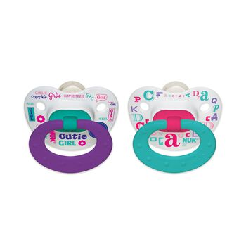NUK® Orthodontic Pacifier, Baby Talk Girl, 0-6 Months, 2 Pack, , hi-res