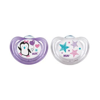 NUK® Girl Penguins Airflow Orthodontic Pacifier, 0-6 Months, 2 Pack, , hi-res