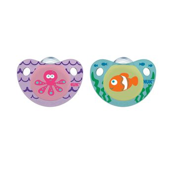 NUK® Cute as a Button Pacifier, Sea Creatures, Girl  6-18 Months, 2 Pack, , hi-res
