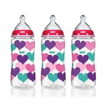 NUK® Bottle with Perfect Fit™ Nipple, 10-Ounce Medium Flow, Hearts, 3 Pack, , hi-res