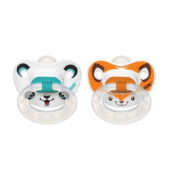 NUK® Animal Faces Orthodontic Pacifier, 6-18 Months, 2 Pack, , hi-res