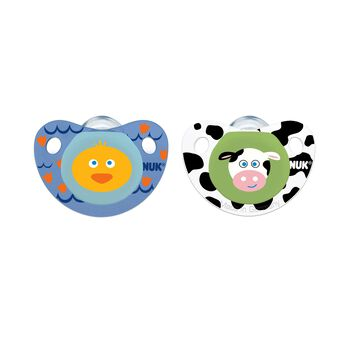 NUK® Cute as a Button Pacifier, Farm Animals, Boy  0-6 Months, 2 Pack, , hi-res