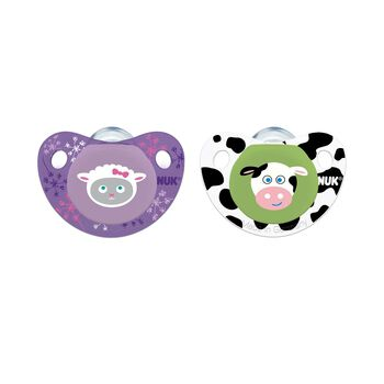 NUK® Cute as a Button Pacifier, Farm Animals Girl 0-6 Months, 2 Pack, , hi-res