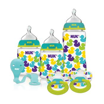 NUK® Bottles with Perfect Fit™ Nipples and Pacifier Gift Starter Set, Ducks, , hi-res