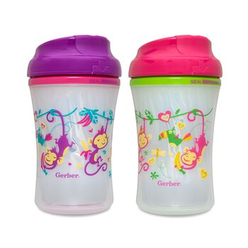 Gerber® Graduates® Advance Developmental Cup-Like Rim 9-Ounce Sippy Cup, Girl, 4 Pack, , hi-res
