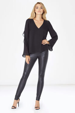 Makenna Combo Blouse - Black
